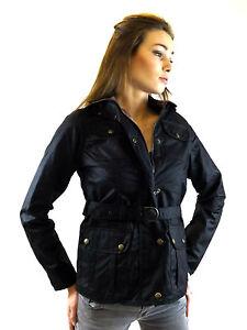 Wax Cotton Biker Jacket New Ladies Made In England  Black 8 10 12 14 16