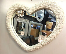 Heart Wall Mirror Ornate Cream Frame French Engraved Roses 75x63cm New
