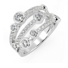 F/VS 1.00 Carat Round Diamond Bubble Ring, UK Hallmarked 18k White Gold