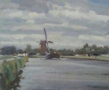 "ORIGINAL MICHAEL RICHARDSON OIL ""Tjalk passing a Windmill"" Dutch barge PAINTING"