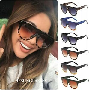 Oversized Black Leopard Womens Ladies Sunglasses Flat Top Shield Luxury Shadow