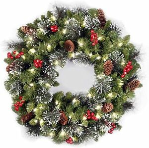 """National Tree 24"""" Artificial Christmas Wreath Flocked Mixed Decorations Lights"""