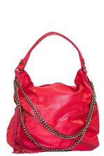 Borsa donna a spalla morbida catena brunito manico zip  bag nuova
