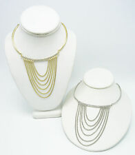 New Pair of 2 Gold & Silver Mini Statement Necklaces with Rhinestones #N2579GS