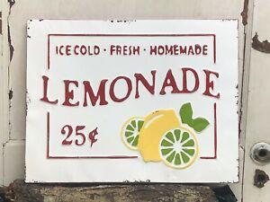 "Lemonade Ice Cold ~ Embossed 18"" x 14"" Metal Sign~  Kitchen Cafe"