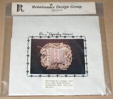 """Renaissance Design """"Blue Tapestry Pillow"""" Linen Cross Stitch Kit w/ Beads NIP"""