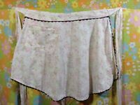 VINTAGE PINK FLORAL WITH BROWN TRIM HALF APRON KITCHEN DECOR FREE SHIPPING