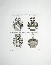 1816 Helmold Lohma Pfeilitzer Franck Schönermarck 4 Kupferstich-Wappen Tyroff