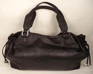 Ri2K BLACK LEATHER TWO STRAP BAG HANDBAG