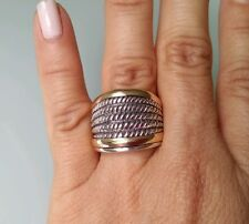 Two Tone Ring Sterling Silver with 9K Gold Size V 1/2 SAME DAY SHIPPING