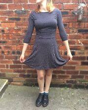 Polyester Short Sleeve Skater Spotty Dresses for Women