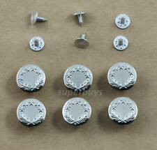 6pc Silver 17mm Jeans Jacket Denim Buttons Hammer Press Repair Tack Replacement