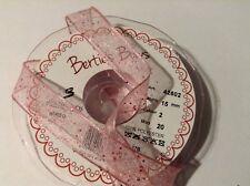 Bertie's Bows 2m x 15mm Pink Sheer Ribbon with Random Glitter.
