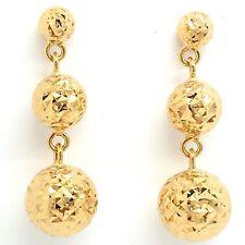 18k Yellow Gold Diamond Dangling Ball Earrings