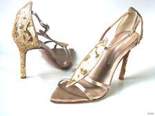 new dressy LES TROPEZIENNES gold T-strap heels shoes 40 US 10