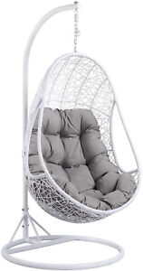 Wicker Rattan Garden Hanging Swing Egg Chair Weave Cushion White Antique Style