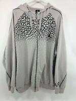 Jordan Zip Up Sweatshirt Hoodie Gray Black Size XXL 445117-070