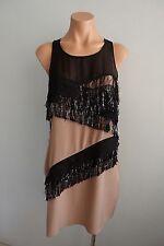 Vena Cava Sleeveless Metallic Fringe Trim Black Beige Silk Dress sz US 6 Aust 10
