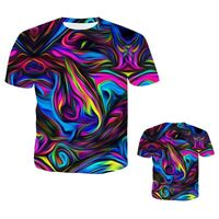 3D Colorful Print Striped T-Shirt Unisex Fashion Casual Short Sleeve Tee Tops