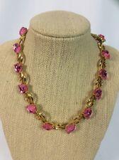 Stunning vtg. Trifari Tulip Pink Lucite Gold Tone necklace