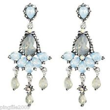 New Blue White Crystal Pendants Ancient Silver Drop/Dangle Earring 6.7cm E1131