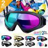 2Pcs Snow Ski Goggles Men Anti-fog Lens Snowboard Snowmobile Motorcycle