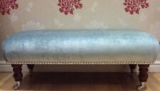 Footstool Stool In Laura Ashley Villandry Duck Egg Velvet Fabric