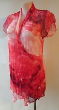 Wishstone pink red white crinkle top Size XL/18 short sleeve