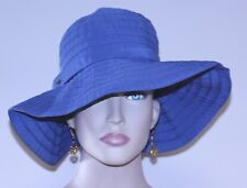 "vintage womans HAT SCALA blue floppy brim clean one size 21 1/4"" cicumference"