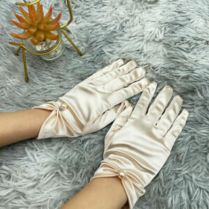 Women's Satin Beaded Stretch Gloves Smooth Party Etiquette Full Finger Mittens