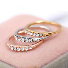Unisex Fashion Couple Wedding Ring Silver Golden Crystal Promise Engagement Ring
