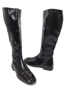 Hogan Women's Tall Black Patent Leather Boot Side Zip Made In Italy Sz 6