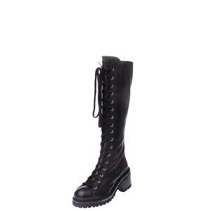 RRP €120 HADEL Leather Knee High Combat Boots Size 37 UK 4 US 7 Heel Lug Sole