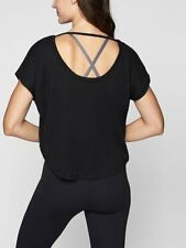 Athleta NWT Organic Daily Tee S MSRP $44 black crop shirt cut-out back