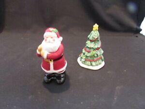 Christmas/Pine Tree and Santa Salt & Pepper Ceramic CIC Shakers