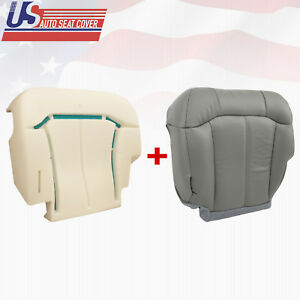 2000 2001 2002 Chevy Silverado Driver Bottom Seat Cover & Foam Cushion Gray