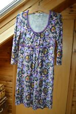 Boden Grey and Purple Dress, Size UK 10, Grey, Purple, Blue, Floral, Viscose.