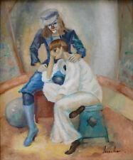 Yvette PESNELLE REINHART (19..-2013) HsT Clowns Jeune peinture Ne Ecole de Paris