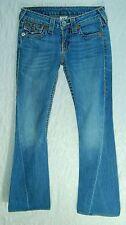 Copper Rivets Button FLAP Pocket LOW Flare TRUE RELIGION Joey Big T Jeans! 26