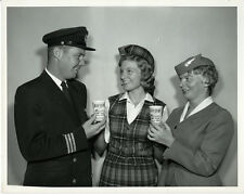 Trans-Canada Airlines Pilot & Stewardess  - orig 1960 TCA promo photo