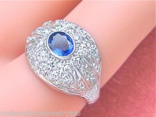 VINTAGE .60ctw PAVE DIAMOND .60ct OVAL BLUE SAPPHIRE PLATINUM COCKTAIL RING 1950