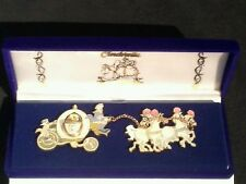 Disney Htf Cinderella Carriage Coach & Horses Le Pin Set Signed by Artist Morrow