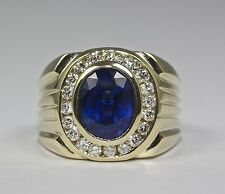 Men's 14k Yellow Gold Oval Royal Blue Sapphire And White Diamond Ring Size 8
