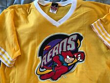 Akron Aeros T-shirt Minor League Baseball Vintage L Yellow Ringor