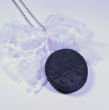 Oreo necklace mini cookie pendant fimo handmade charm easter gift bow ribbon