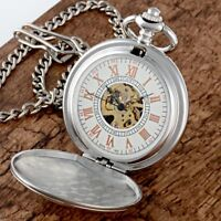 Luxury Silver Stainless Steel Vintage Antique Pocket Watch Mechanical Men Chain