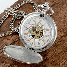 Pocket Watch Mechanical Men Chain Luxury Silver Stainless Steel Vintage Antique