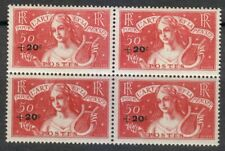 France 1936 MNH Mi 335 Sc B47 Symbolic of Music,Surcharged in black** Block of 4