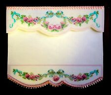 PRETTY WHITE  PINK FLORAL BLIND / CURTAIN / DRAPE FOR DOLLS HOUSE-BY SYLVIA ROSE