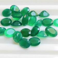 Lot of 10x8mm to 12x10mm Oval Facet Natural Green Onyx Loose Calibrated Gemstone